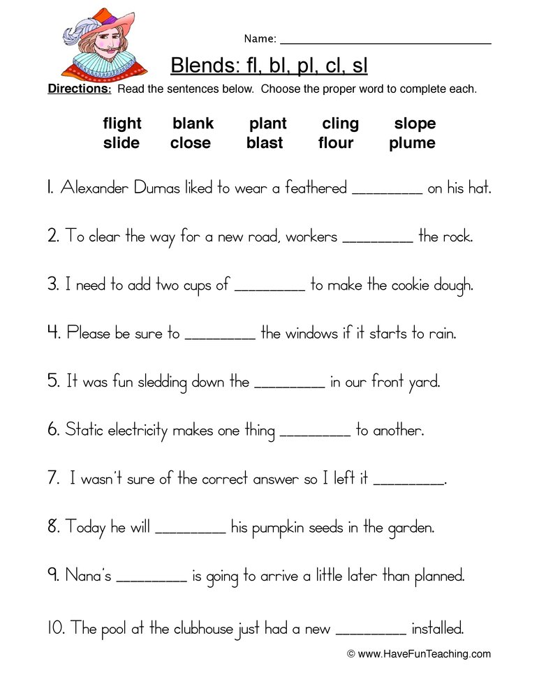 L Blends Fill in the Blank Worksheet | Have Fun Teaching