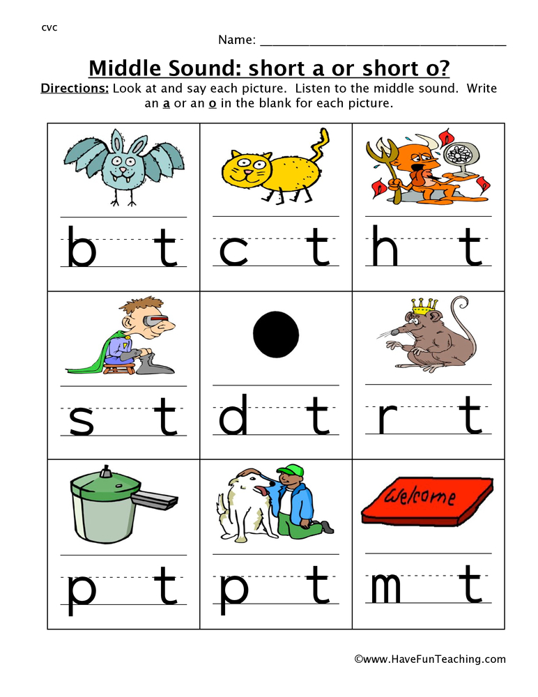Middle Sounds Worksheets Have Fun Teaching. Middle Sound A Or O Worksheet. Kindergarten. Short I Worksheets For Kindergarten At Clickcart.co
