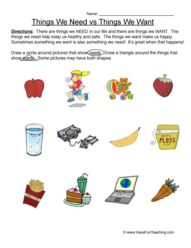 Worksheets Needs And Wants Worksheets needs and wants worksheets bloggakuten for second grade intrepidpath
