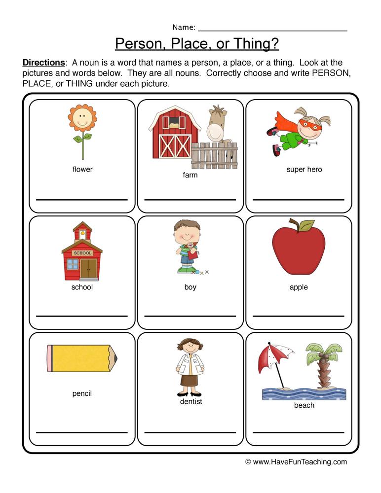 noun worksheet 1