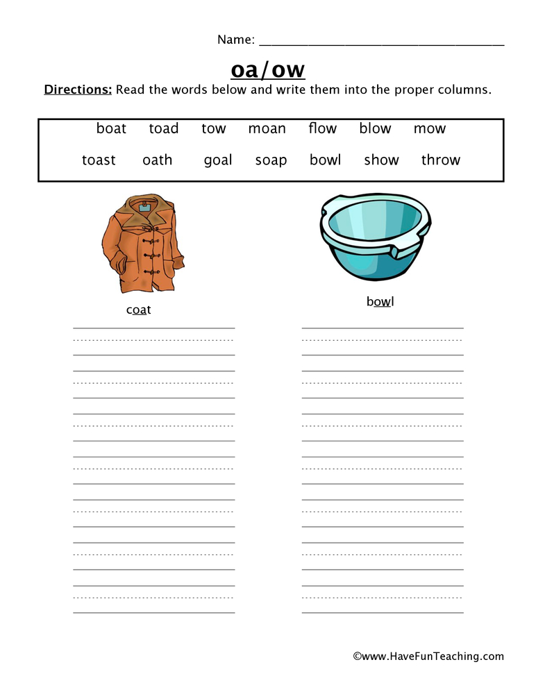 OA OW Worksheet – Ow Worksheets