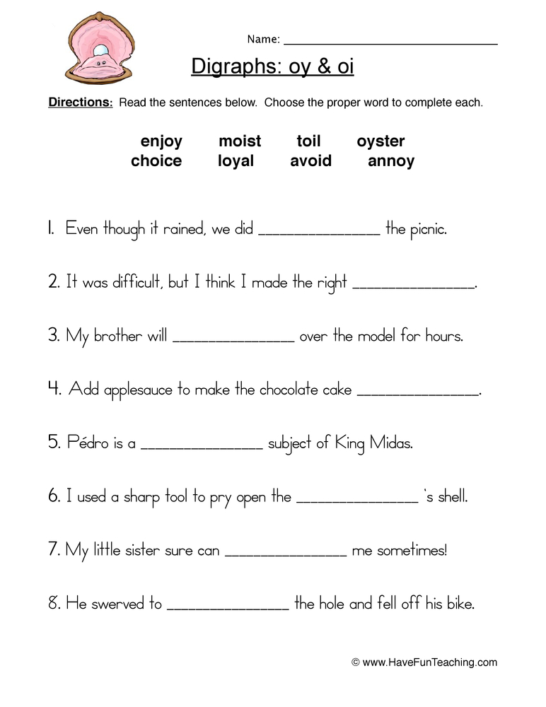 OI OY Digraphs Worksheet