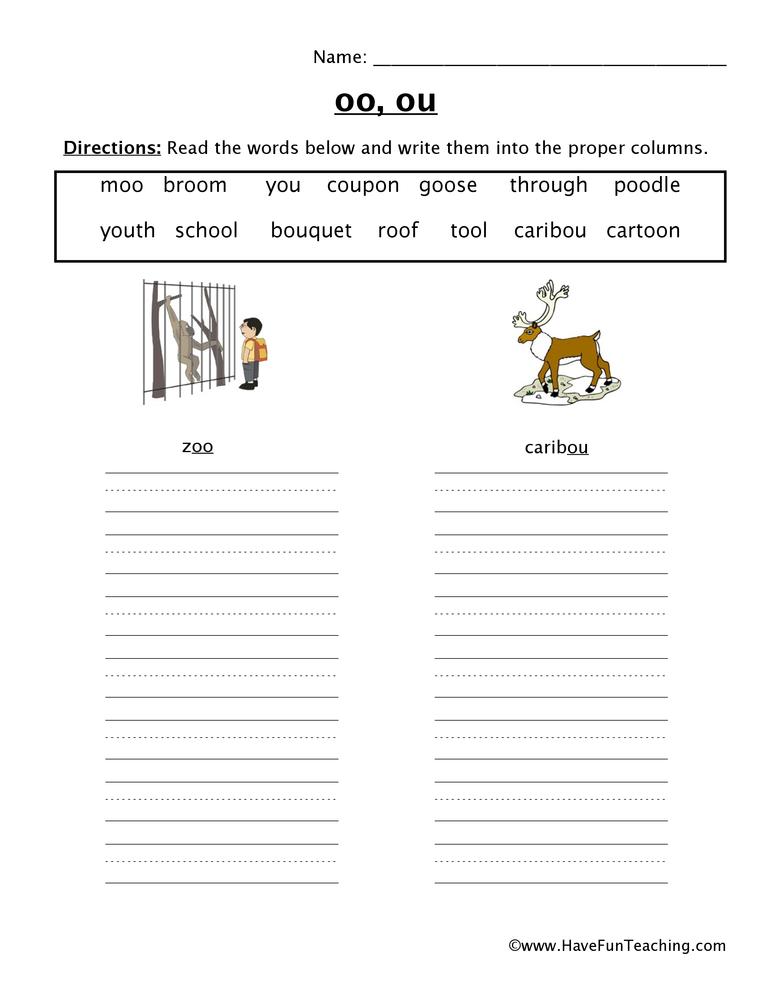 OO OU Worksheet