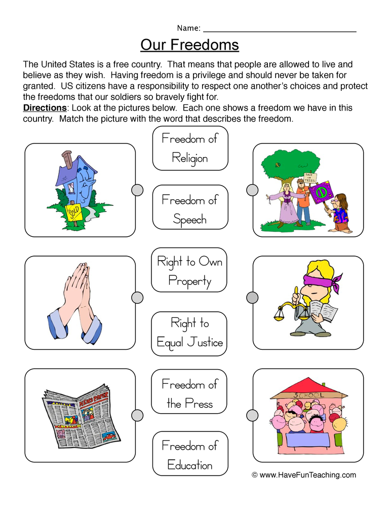 Our Freedoms Worksheet