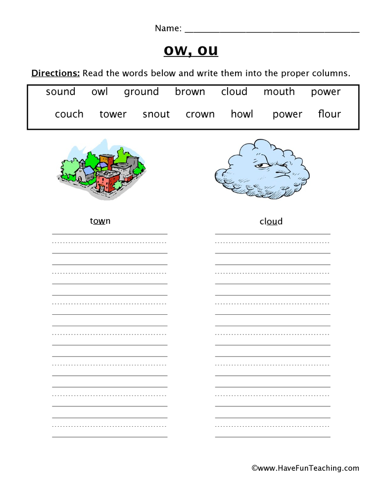 OW OU Worksheet – Ow Worksheets