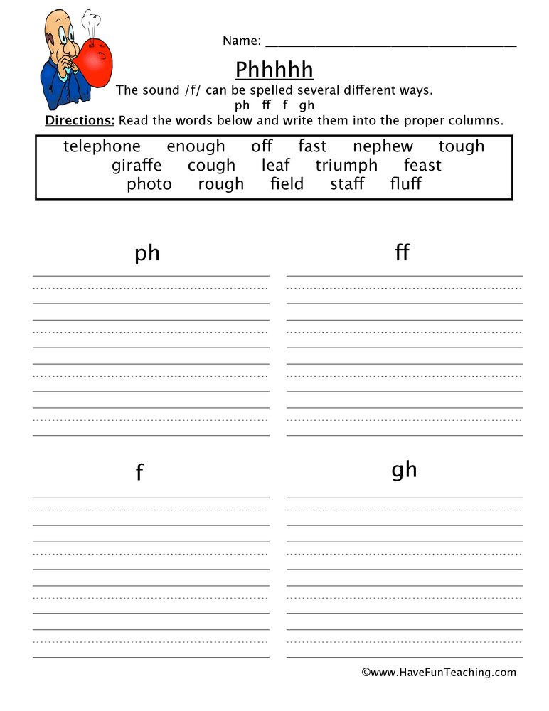 ph ff f gh worksheet