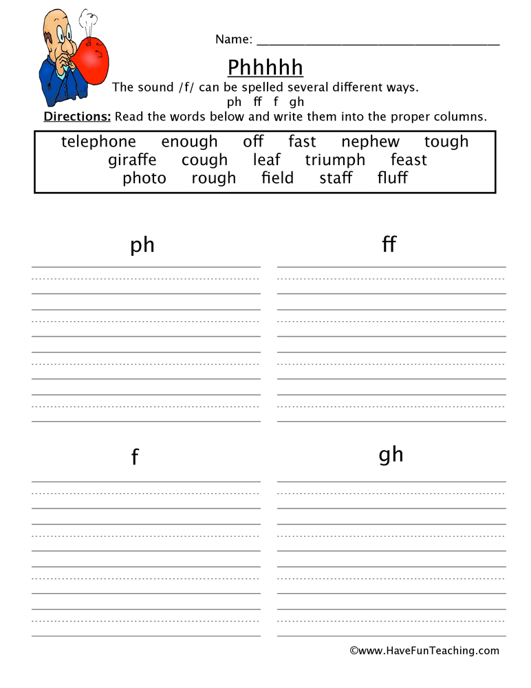 Printables Ph Worksheet ph ff f gh worksheet worksheet
