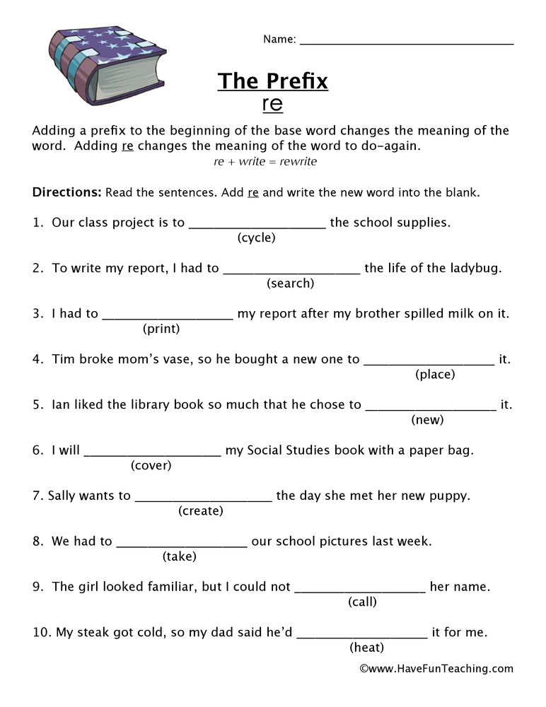 prefix re worksheet