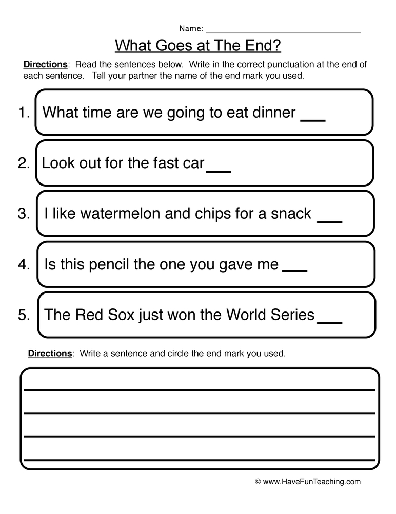 punctuation worksheet 2