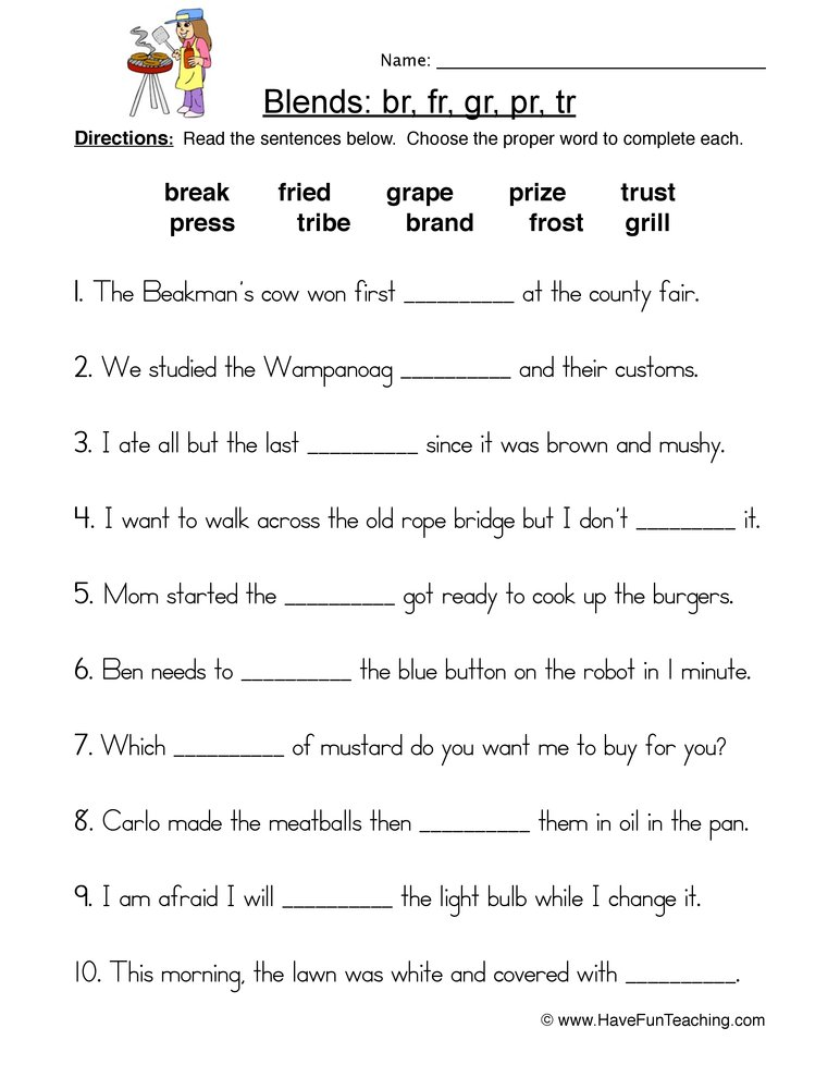 r blends worksheet 1
