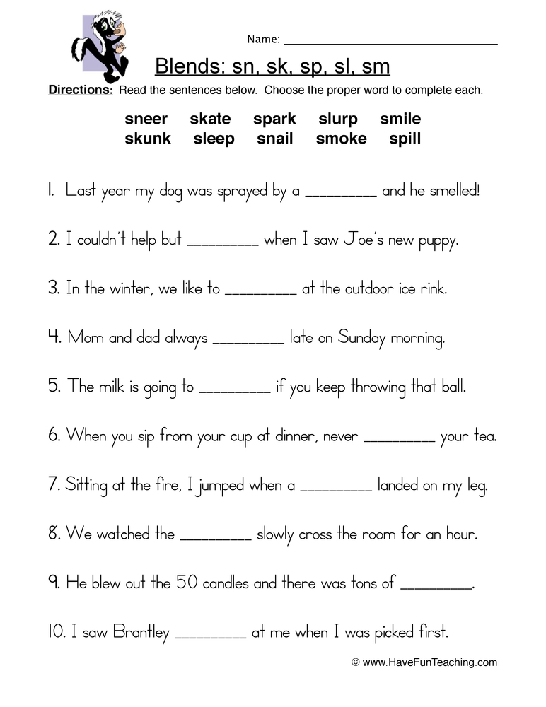 s blends worksheet 1