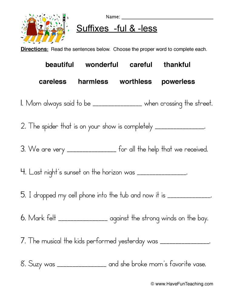suffixes worksheet 1