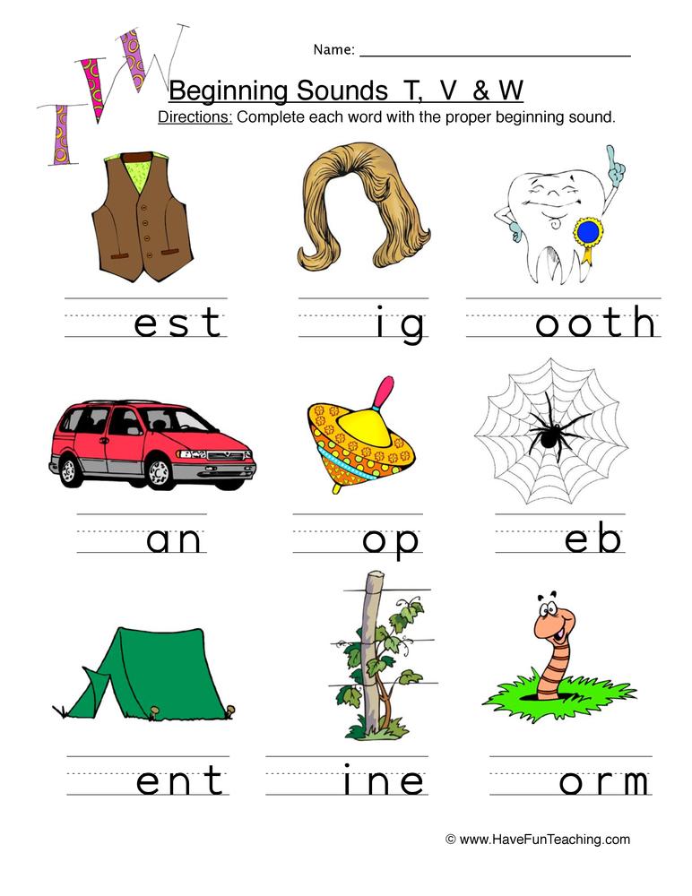 t v w beginning worksheet 1