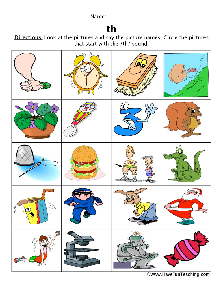 th picture circle worksheet
