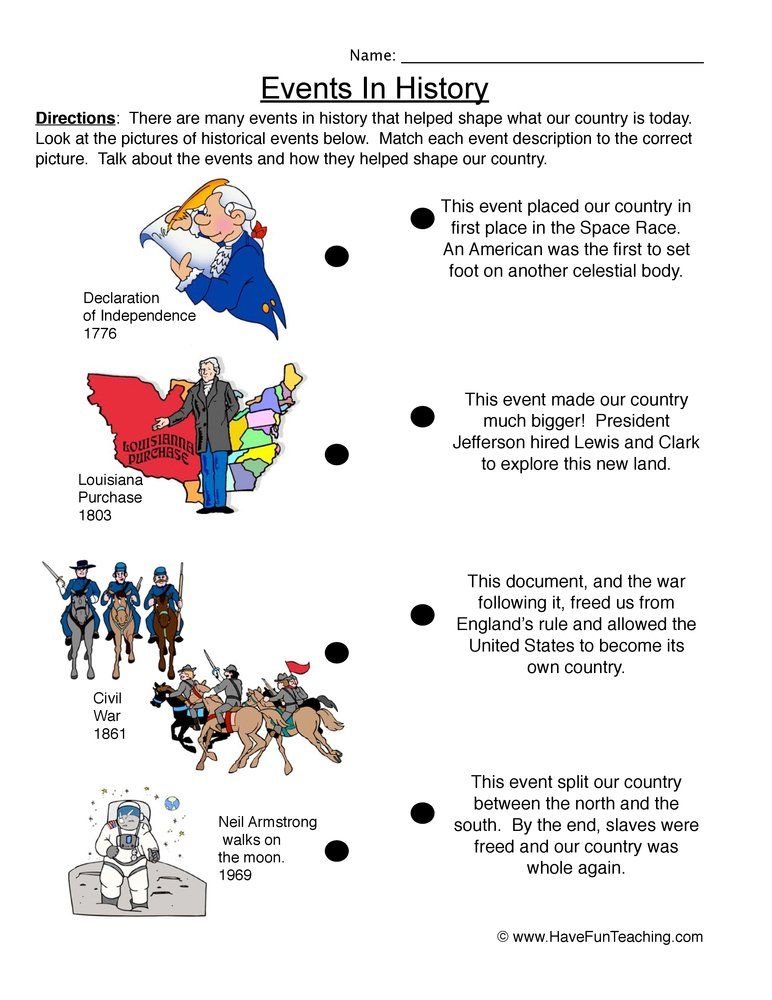 US History Worksheet 1 - Events in History