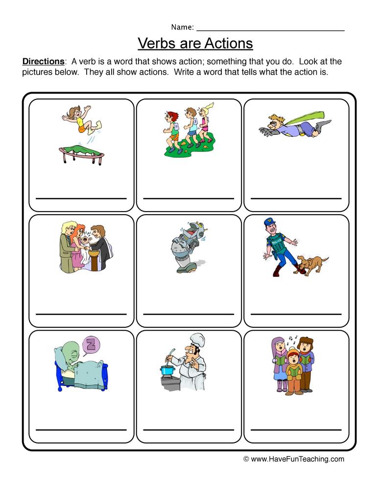 verb worksheet 1