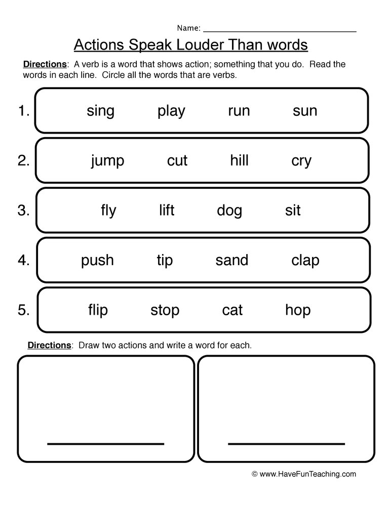 Verb Worksheet 1 Actions Speak Louder Than Words. Verb Worksheet 1 Actions Speak Louder Than Words. Worksheet. Action And Being Verbs Worksheets At Clickcart.co