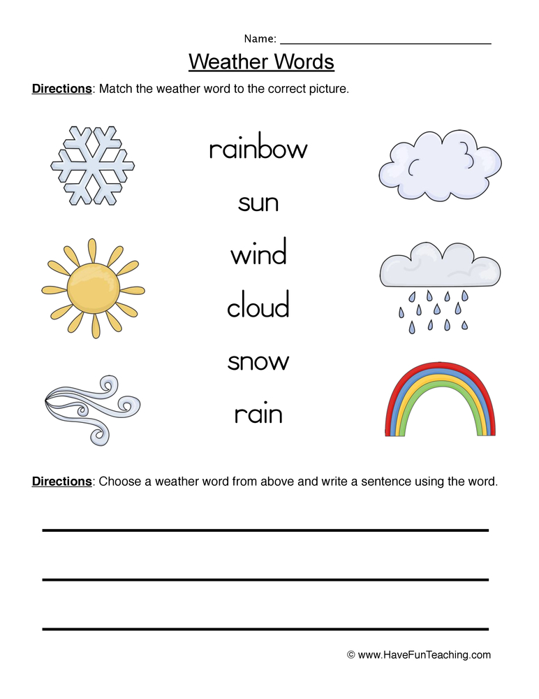 weather words worksheet 1
