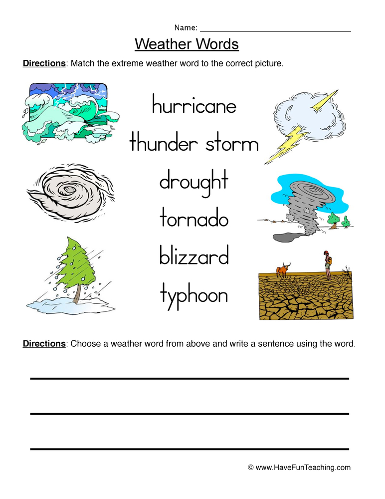 weather words worksheet 2 matching. Black Bedroom Furniture Sets. Home Design Ideas