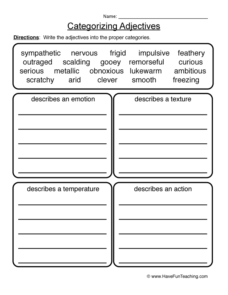 adjectives worksheet 4