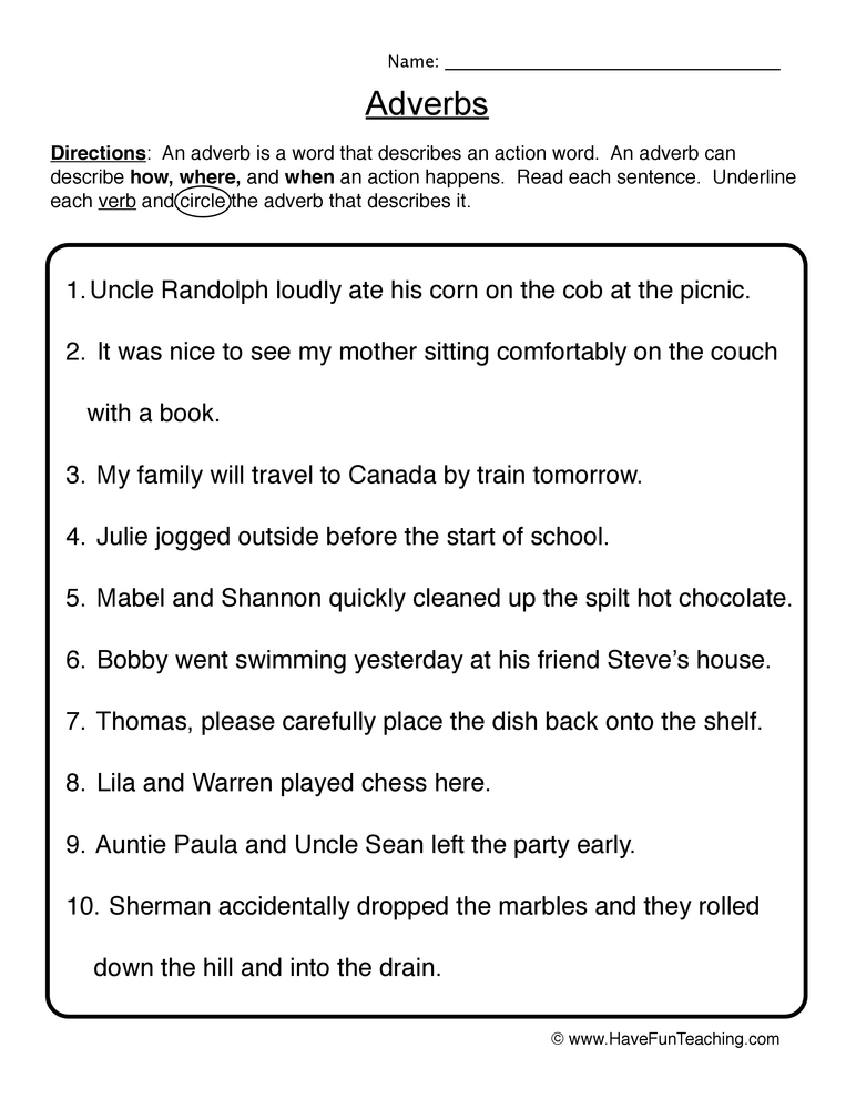 Adverb Worksheets - Have Fun Teaching