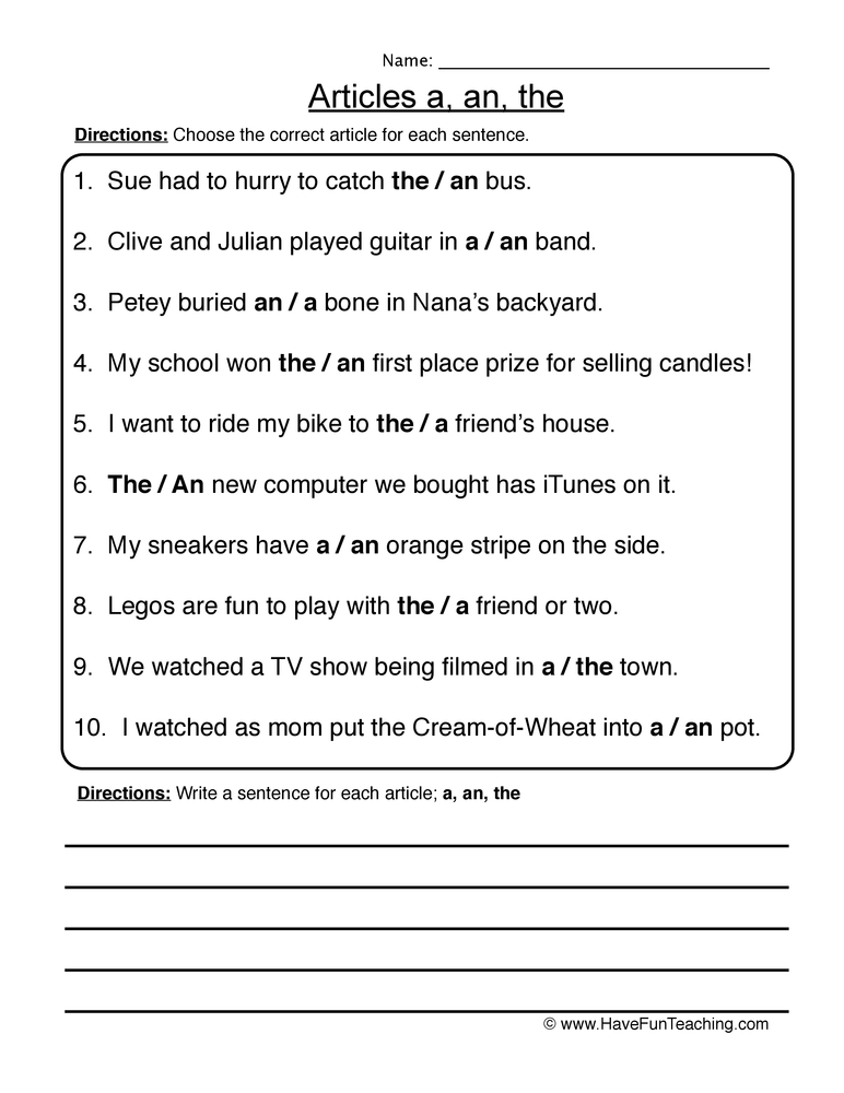articles worksheet 1