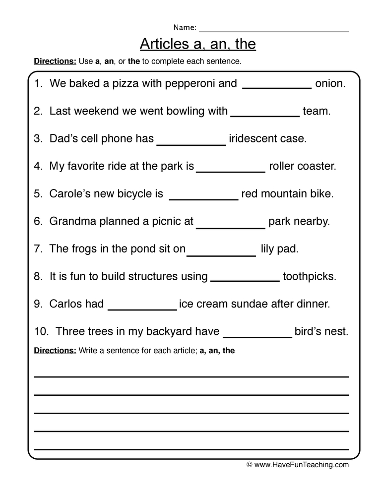 articles worksheet 2