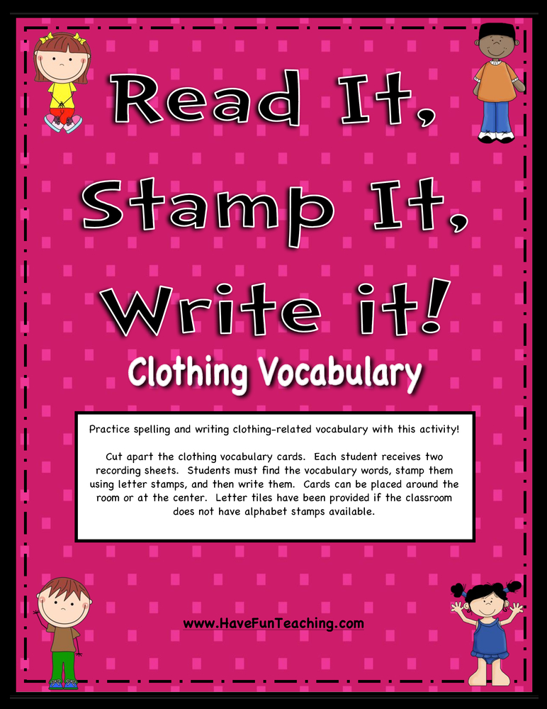 Clothing Words Activity