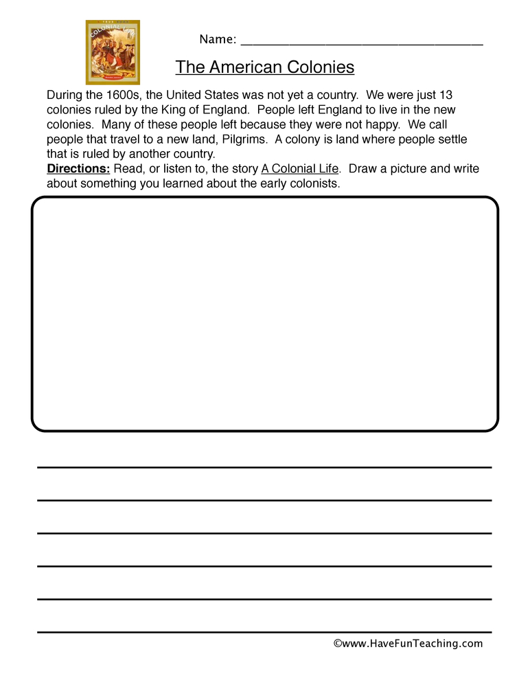 colonies worksheet