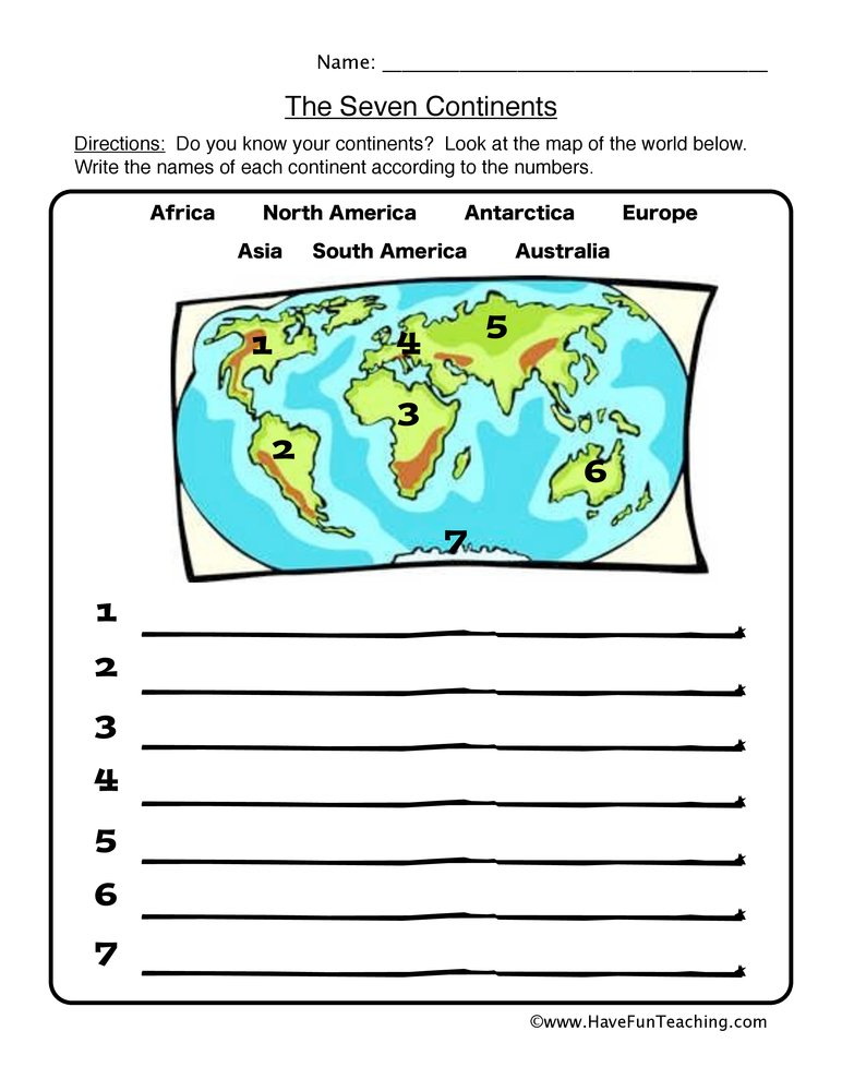 continents worksheet