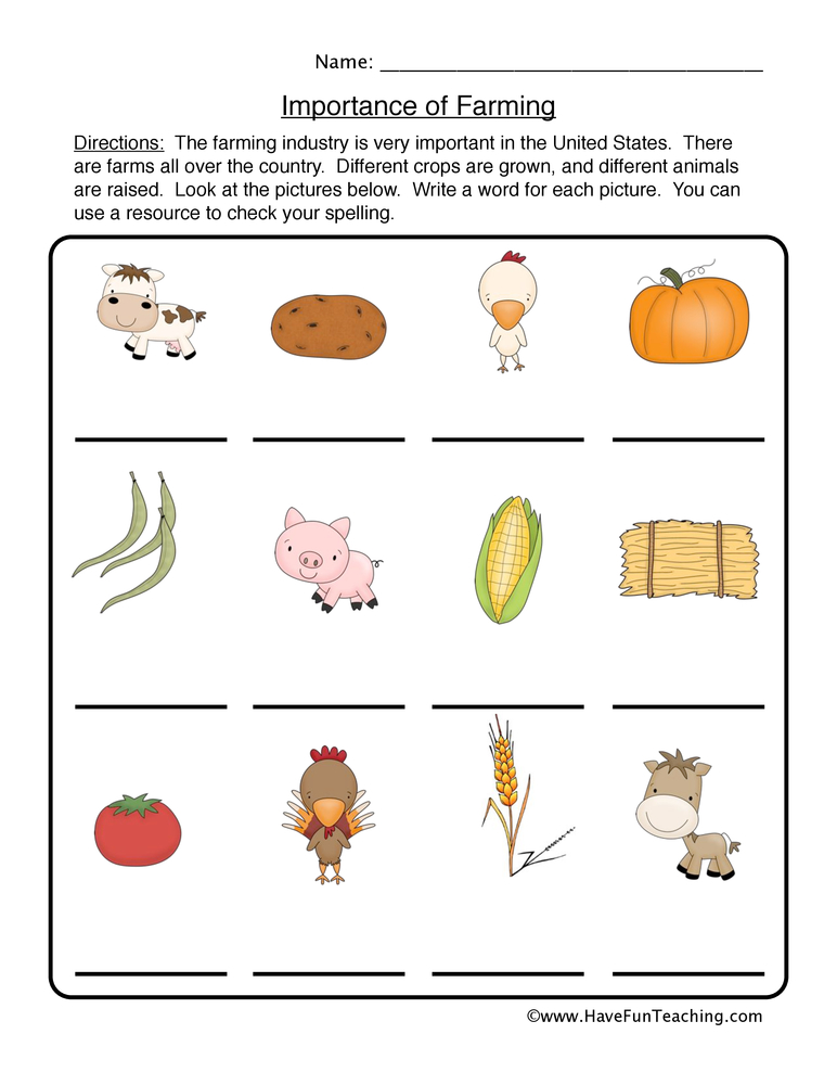 farming worksheet