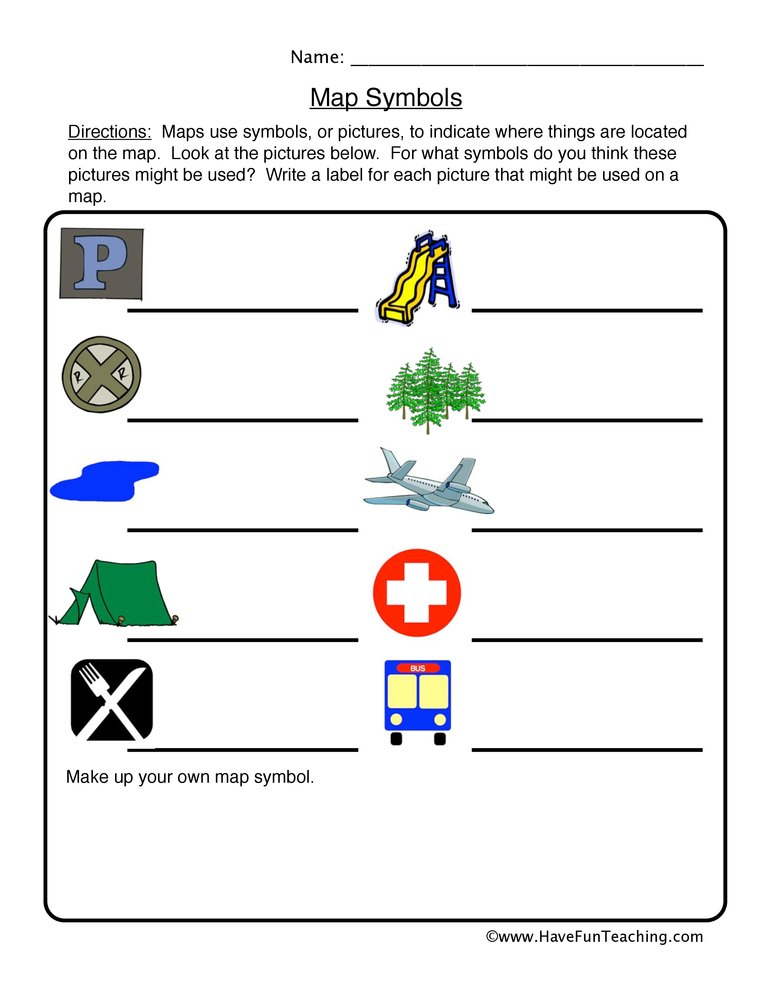 Map Symbols Worksheet