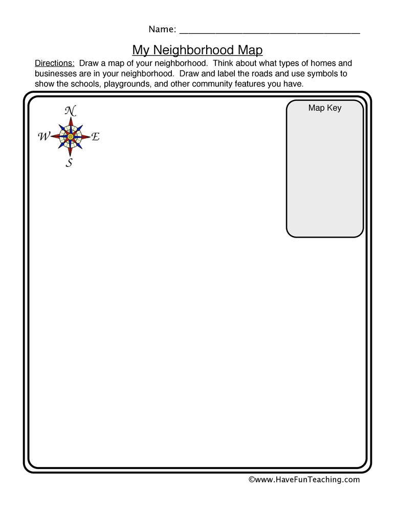 Neighborhood Map Worksheet – Map Key Worksheet