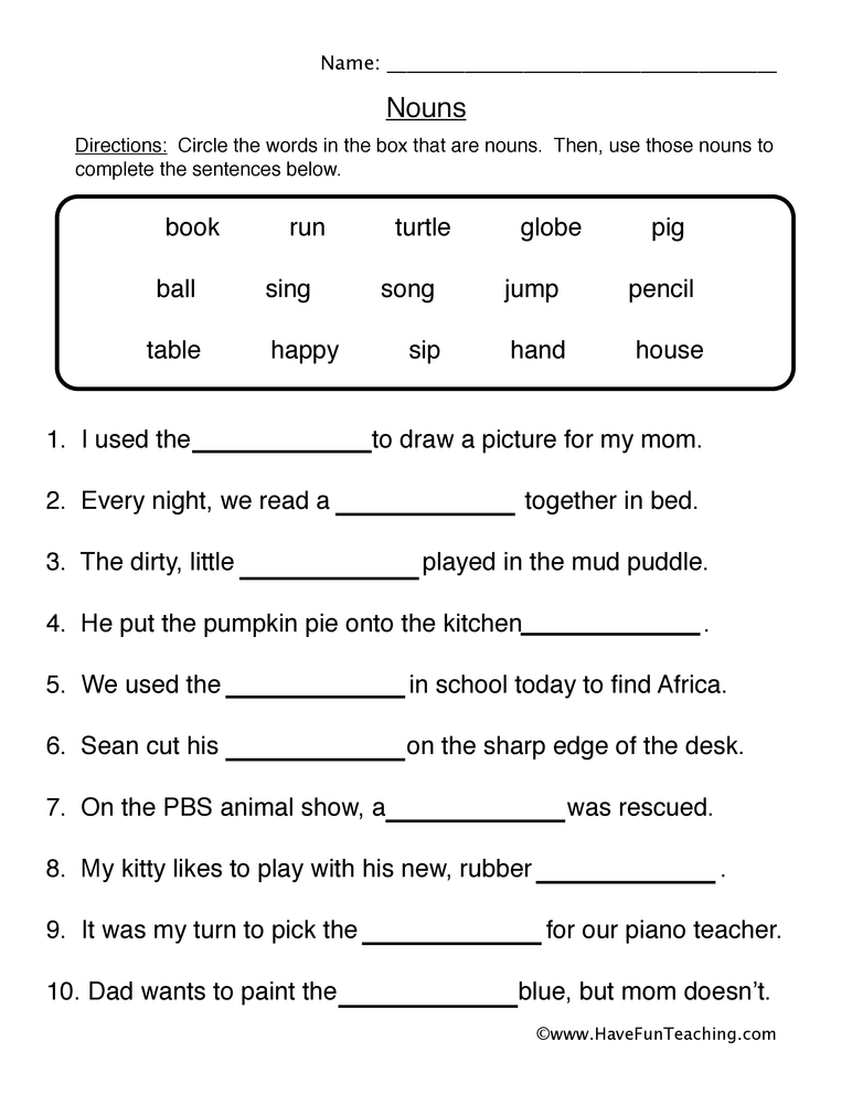 Noun Worksheet 1 – Fill in the Blanks