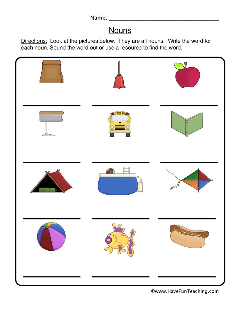 math worksheet : noun worksheets  page 2 of 6  have fun teaching : Noun Worksheet Kindergarten
