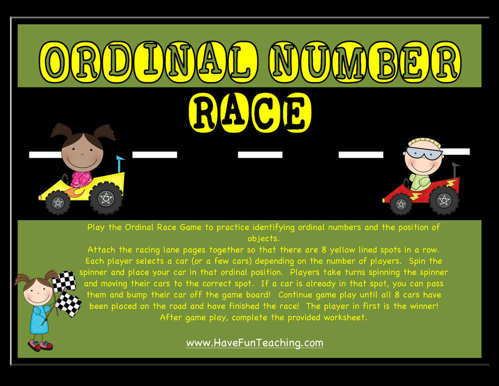 ordinal numbers racecar activity