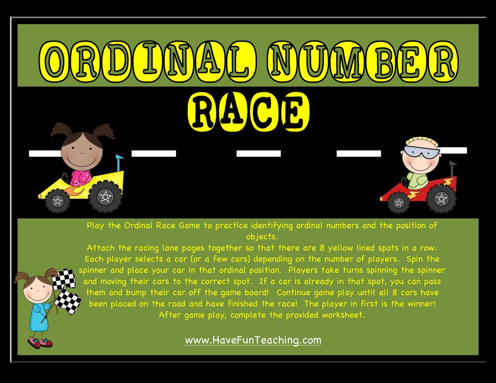 Ordinal Numbers Racecar Activity on Math Board Games For Kindergarten S