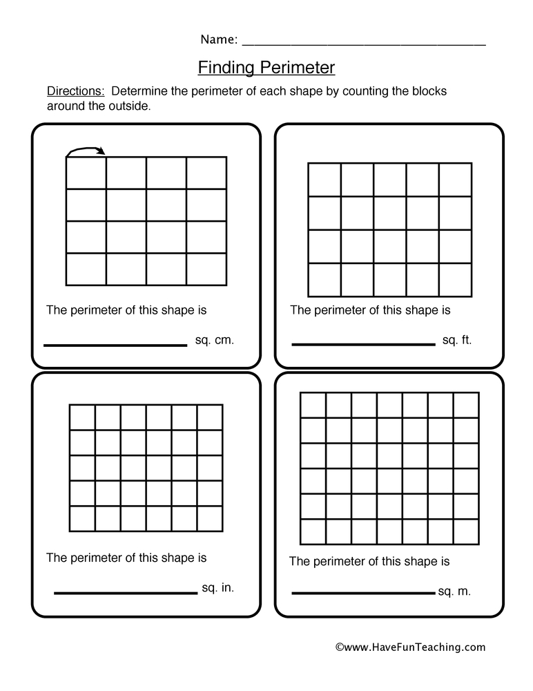 perimeter worksheet 1