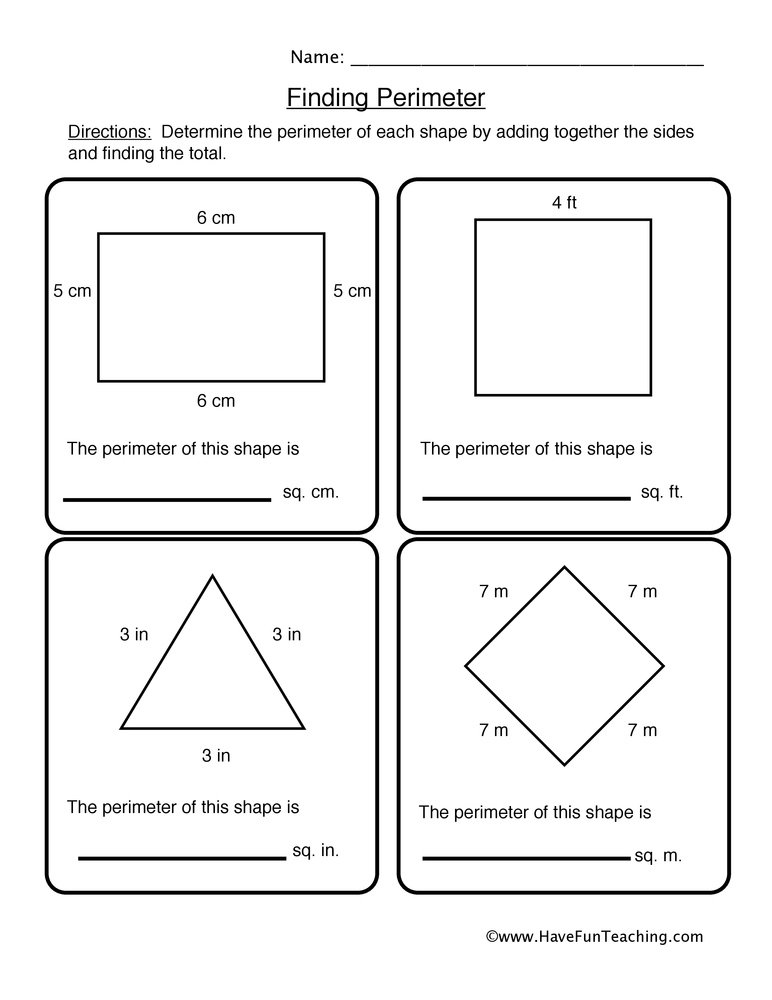 perimeter worksheet 2