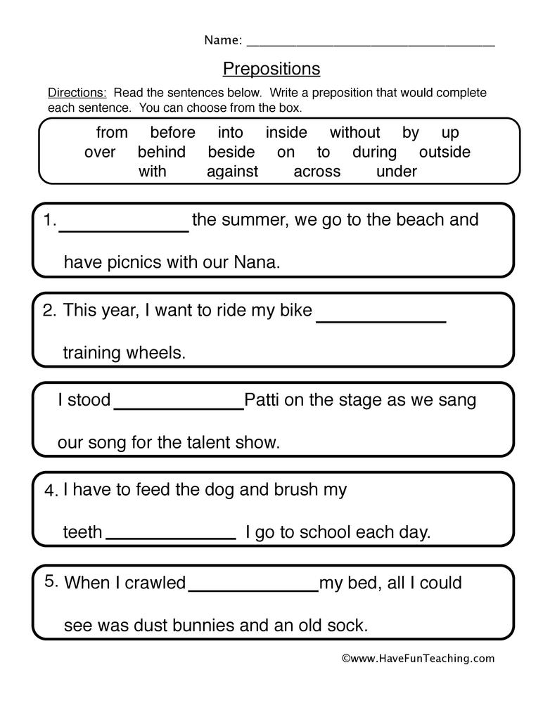 Prepositions Worksheet 2 Fill in the Blanks – Prepositions Worksheet