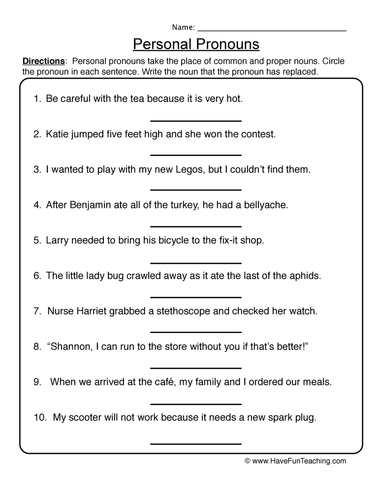 pronoun worksheet 1