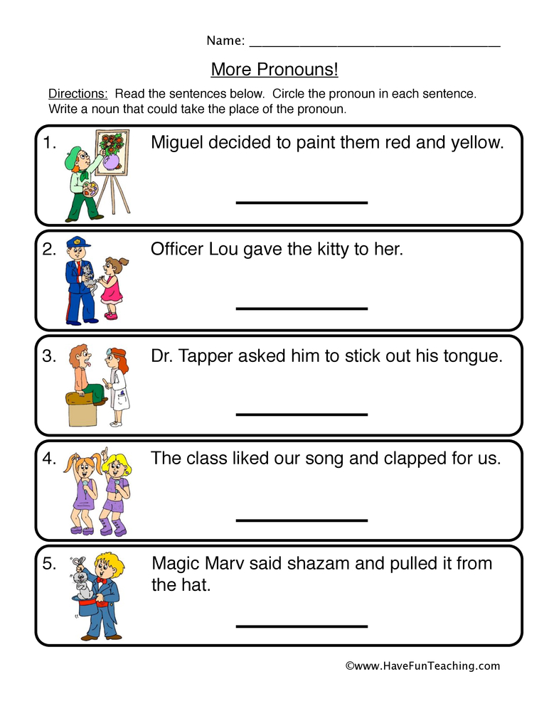 pronouns worksheet 2