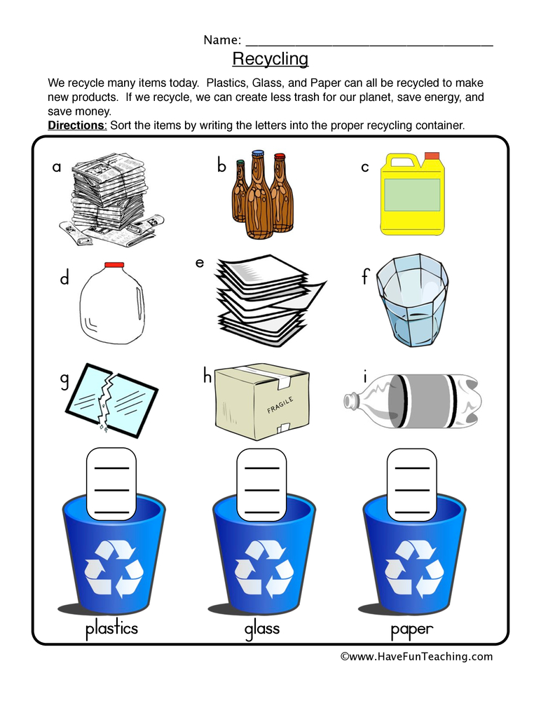 Recycling Sort Worksheet | Have Fun Teaching