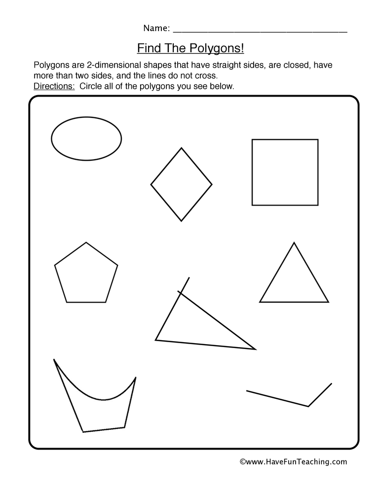 shapes worksheet 1