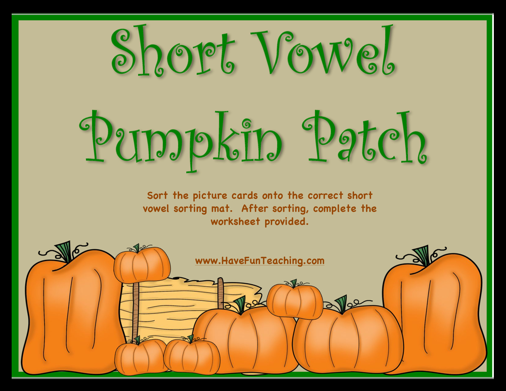 short vowel pumpkin patch activity
