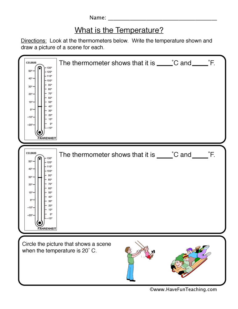 temperature worksheet 1
