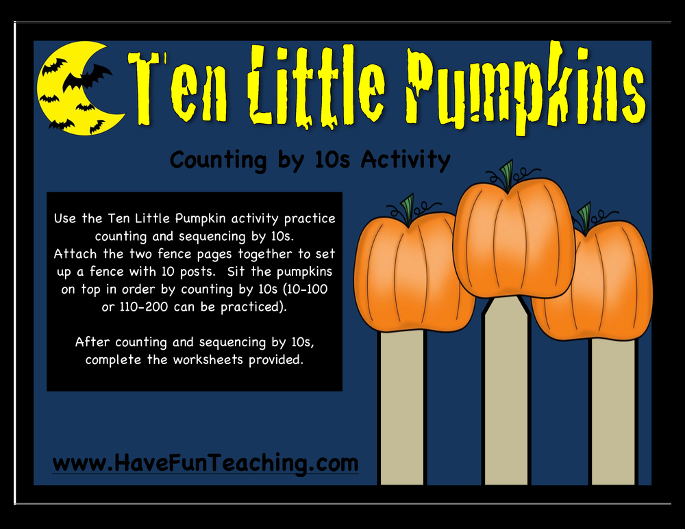 ten little pumpkins counting by 10 activity