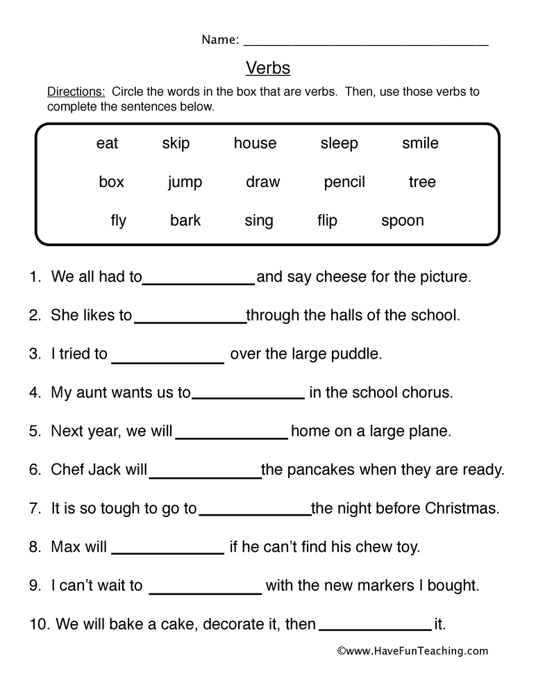 Verb Worksheets - Page 2 of 7 - Have Fun Teaching