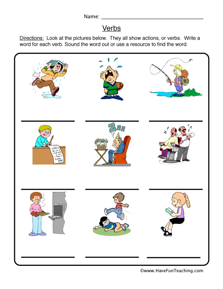 math worksheet : verb worksheets  page 2 of 7  have fun teaching : Verb Worksheet For Kindergarten