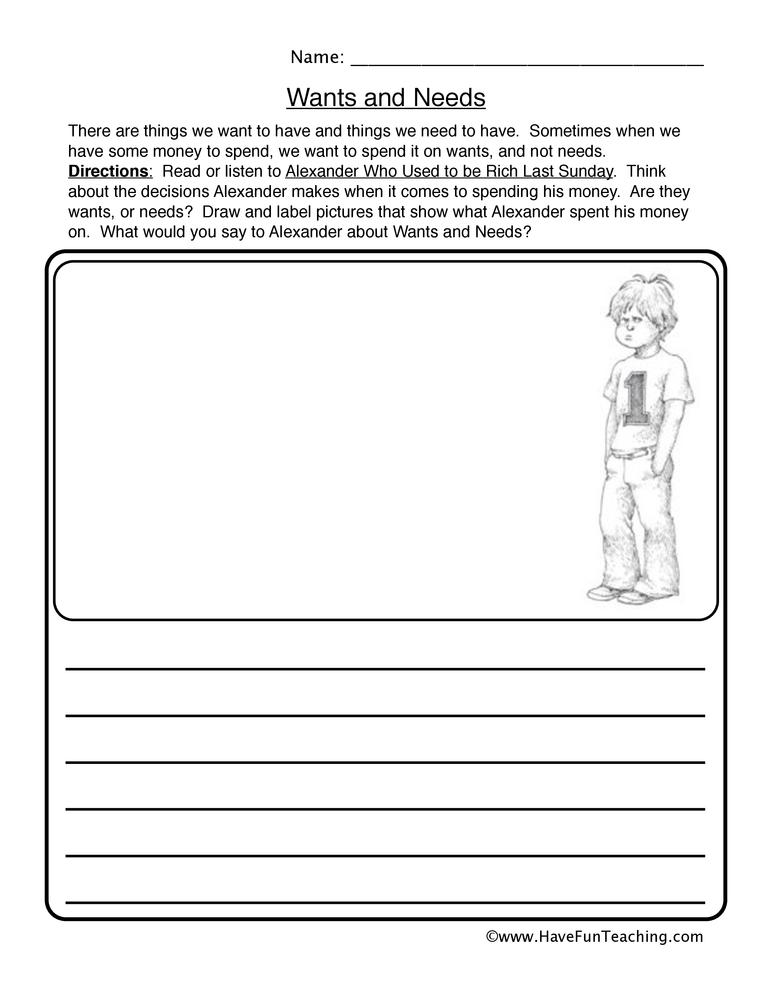 Wants Needs Worksheet – Reading Response